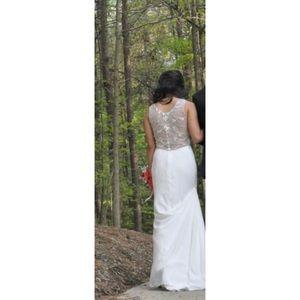 White floor-length gown